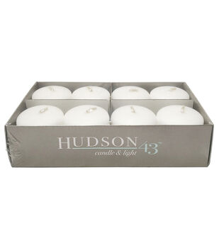 "Hudson 43 Candle & Light Collection 8pk 2"" Unscented Pillar Candles-White"