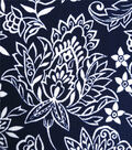Stretch Crepe Knit Fabric-White Ornate Floral on Blue