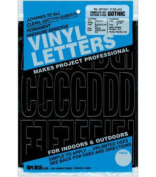 Duro Decal 160 pk 3'' Permanent Adhesive Vinyl Letters & Numbers-Black