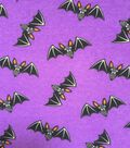 Halloween Cotton Interlock Fabric 57\u0022-Purple Bats