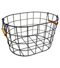 Medium Oval Wire Basket with Wooden Handles