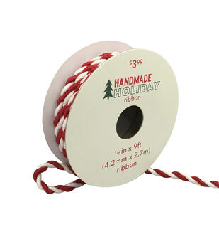 Handmade Holiday Christmas Twist Ribbon 1/6''x9'-Red & White