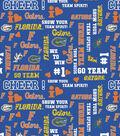 University of Florida Gators Cotton Fabric -Glitter Block