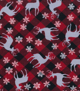 Snuggle Flannel Fabric -Deer & Flakes Plaid