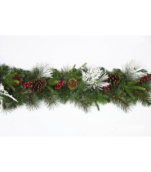 Handmade Holiday Christmas Cashmere Garland with Berries & Pinecones