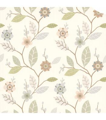 Claudia Light Blue Retro Blossom  Wallpaper
