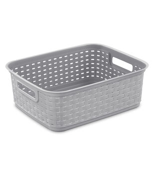 Sterilite Short Weave Basket-Cement