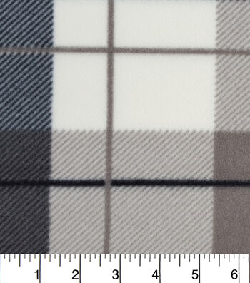 "Anti-Pill Fleece Fabric 59""-Hensley White Grey Plaid"