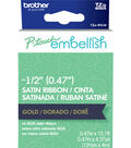Brother P-touch Embellish Satin Ribbon 0.47\u0027\u0027x13.1\u0027-Gold on Navy Blue