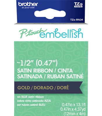 Brother P-touch Embellish Satin Ribbon 0.47''x13.1'-Gold on Navy Blue