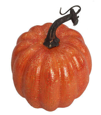 Blooming Autumn Medium Pumpkin-Crackle on Orange
