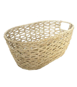 Organizing Essentials Oval Open Weave Seagrass Basket
