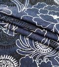 Denim Blue Sketched Paisley 7oz Stretch Fabric 57\u0022