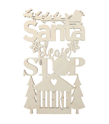 Decorative Wooden Sign-Santa Please Stop Here