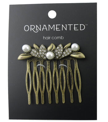 hildie & jo Ornamented Antique Gold Hair Comb-Pearls & Crystals