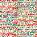 Novelty Cotton Fabric-State Names with Stars