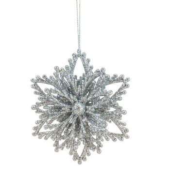 Maker's Holiday Christmas Arctic Frost Snowflake Ornament-Silver