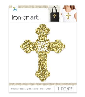 Momenta Cross Chunky Glitter Iron-on Art-Gold