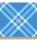 Blizzard Fleece Fabric 59\u0022-Light Blue Diagonal Plaid