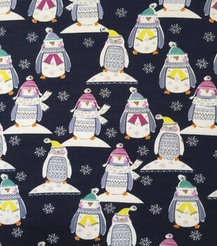 "Doodles Christmas Cotton Fabric 57""-Navy Penguins In Sweaters"