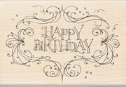 "Inkadinkado Mounted Rubber Stamp 4""X2.75""-Happy Birthday Flourish Frame, , hi-res"