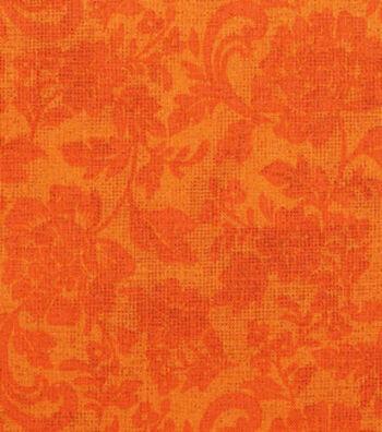 "Harvest Cotton Fabric 43""-Tonal Mum Scrolls Orange"