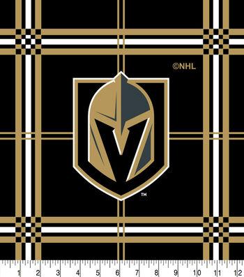 Vegas Golden Knights Flannel Fabric-Box Plaid
