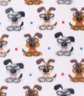 Blizzard Fleece Fabric -Smart Pups With Glasses