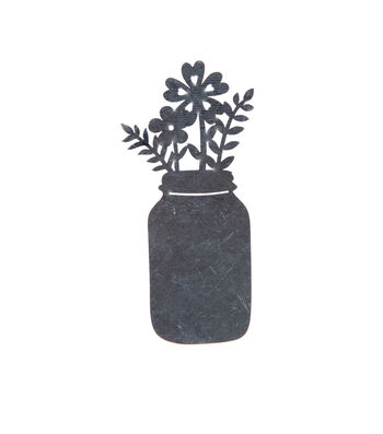 Simply Spring 2''x4.2'' Unfinished Metal Jar with Flowers