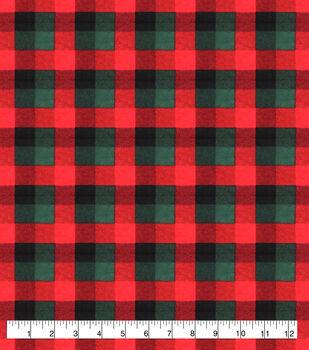 Super Snuggle Flannel Fabric-Red & Green Buffalo Check