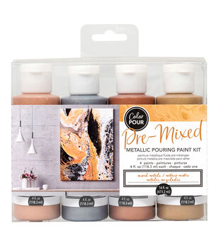 American Crafts Color Pour Pre-Mixed Metallic Paint Kit-Mixed Metals