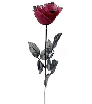 Maker's Halloween Burgundy Rose Stem with Black Glitter