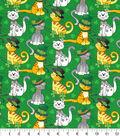St. Patrick\u0027s Day Cotton Fabric-Cats Glitter