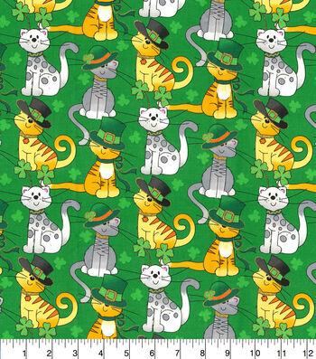 St. Patrick's Day Cotton Fabric-Glitter Cats