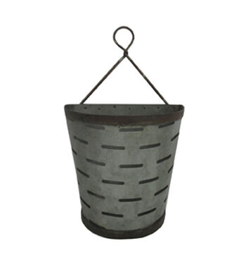 Fresh Picked Spring Large Flat Back Galvanized Slit Container