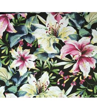 Amaretto Linen Fabric -Tropical Floral