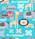 Anti-Pill Fleece Fabric 59\u0022-Safari Animals With Words