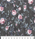 Premium Cotton Fabric-Burgundy Roses on Gray