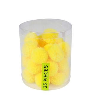 Fab Lab Yarn Pom Poms 25/Pkg-Yellow