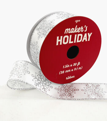 Maker's Holiday Christmas Ribbon 1.5''x30'-Silver Snowflakes on White