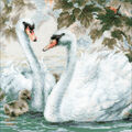 RIOLIS 9.75\u0027\u0027x9.75\u0027\u0027 Counted Cross Stitch Kit-White Swans