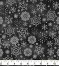 Christmas Cotton Fabric 43\u0022-Snowflakes on Black