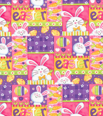 Easter Cotton Fabric 44''-Bunny Patchwork