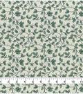 Christmas Cotton Fabric-Green Holly Scrolls on Cream