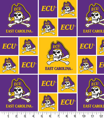East Carolina University Pirates Cotton Fabric -Block
