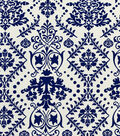 Sportswear Apparel Stretch Twill Fabric -Navy & Ivory Damask