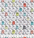 Snuggle Flannel Fabric-Sketched Smiling Cats