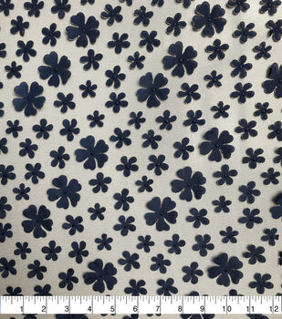 Sew Sweet Mesh Fabric-Floral on Patriot Blue