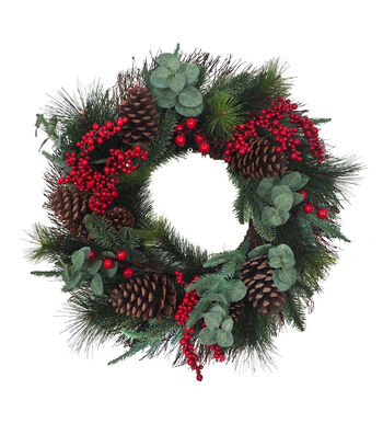 Blooming Holiday Christmas 24'' Red Berry, Pinecone & Eucalyptus Wreath