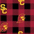 University of Southern California Trojans Fleece Fabric-Buffalo Plaid
